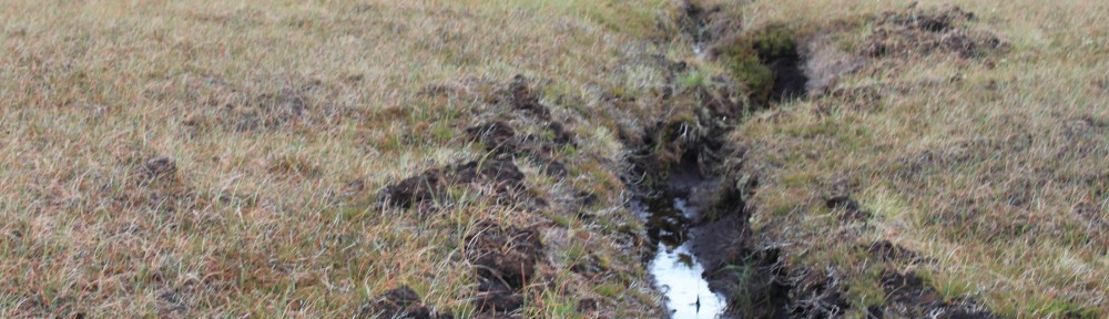 Walshaw Moor drainage ditch and grouse shooting butt on severely damaged blanket bogs