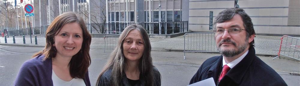 (L to R: Rebecca Taylor MEP, Dongria Kondh and Jean Francois Brakeland outside the EU Parliament