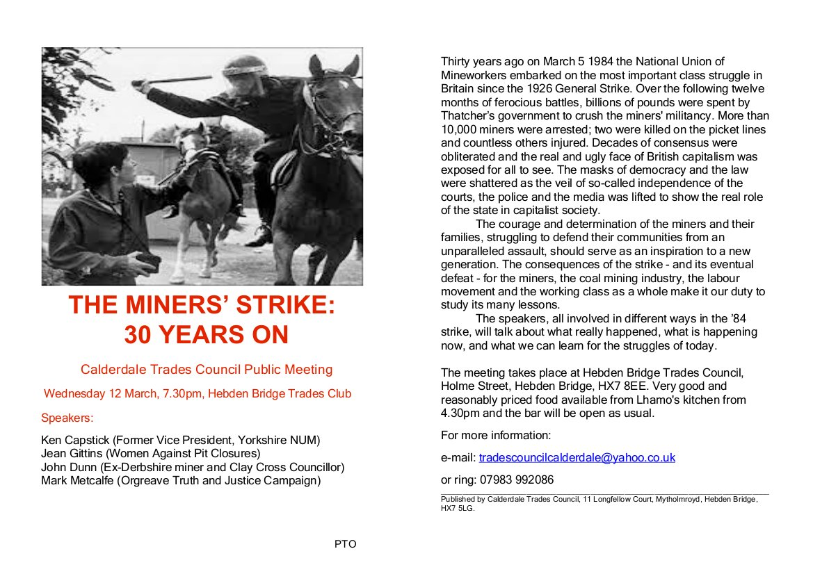 Commemorate 30 year anniversary of miners strike at Trades, 12th ...