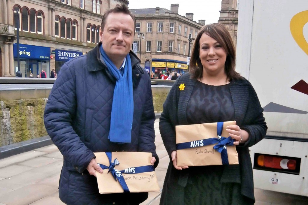 Jason McCartney MP and Paula Sherriff MP with copies of Testimony on the Destruction of the NHS: Why we need the NHS Bill now, presented to them by the Chair of North Kirklees Support the NHS